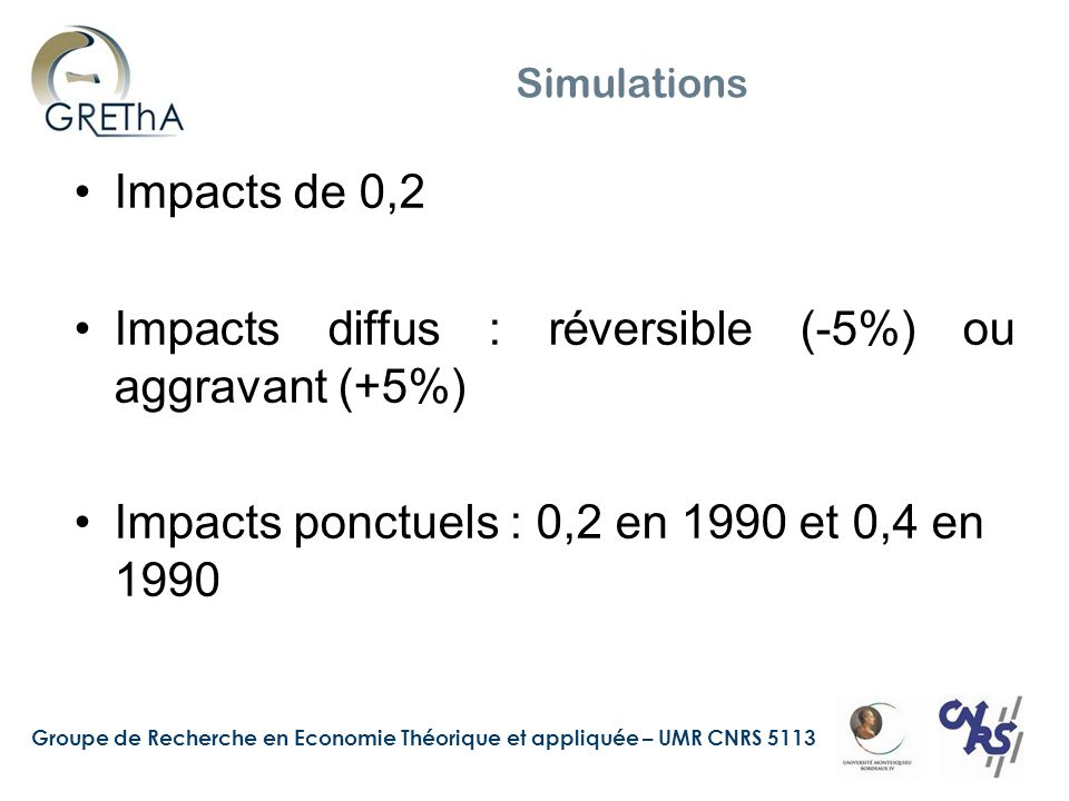 Impacts diffus : réversible (-5%) ou aggravant (+5%)