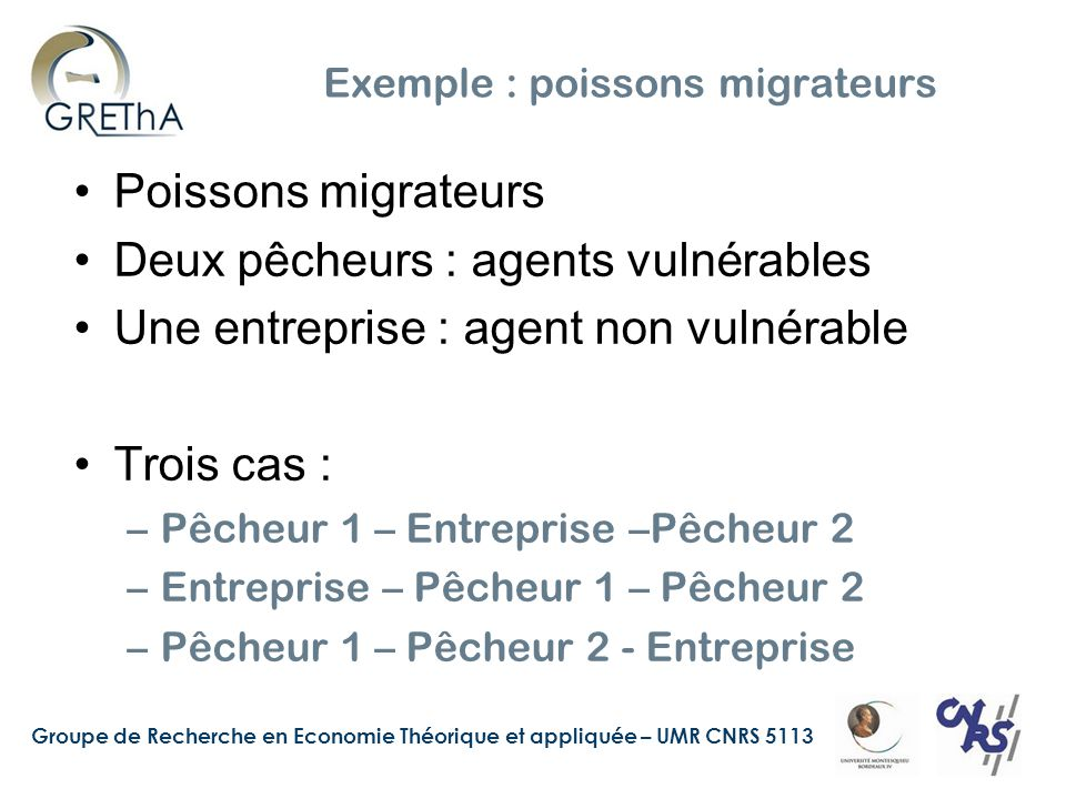 Exemple : poissons migrateurs