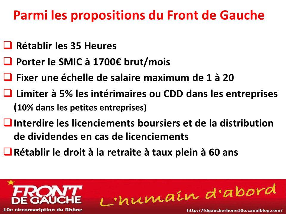 Parmi les propositions du Front de Gauche