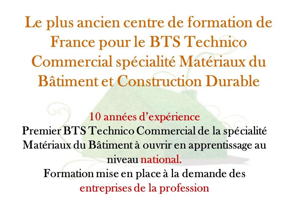 Le plus ancien centre de formation de France pour le BTS Technico Commercial spécialité Matériaux du Bâtiment et Construction Durable