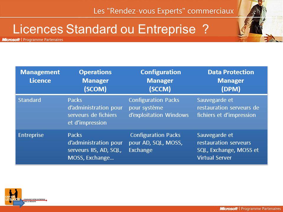 Licences Standard ou Entreprise