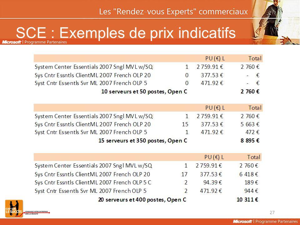 SCE : Exemples de prix indicatifs