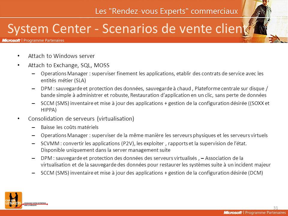 System Center - Scenarios de vente client