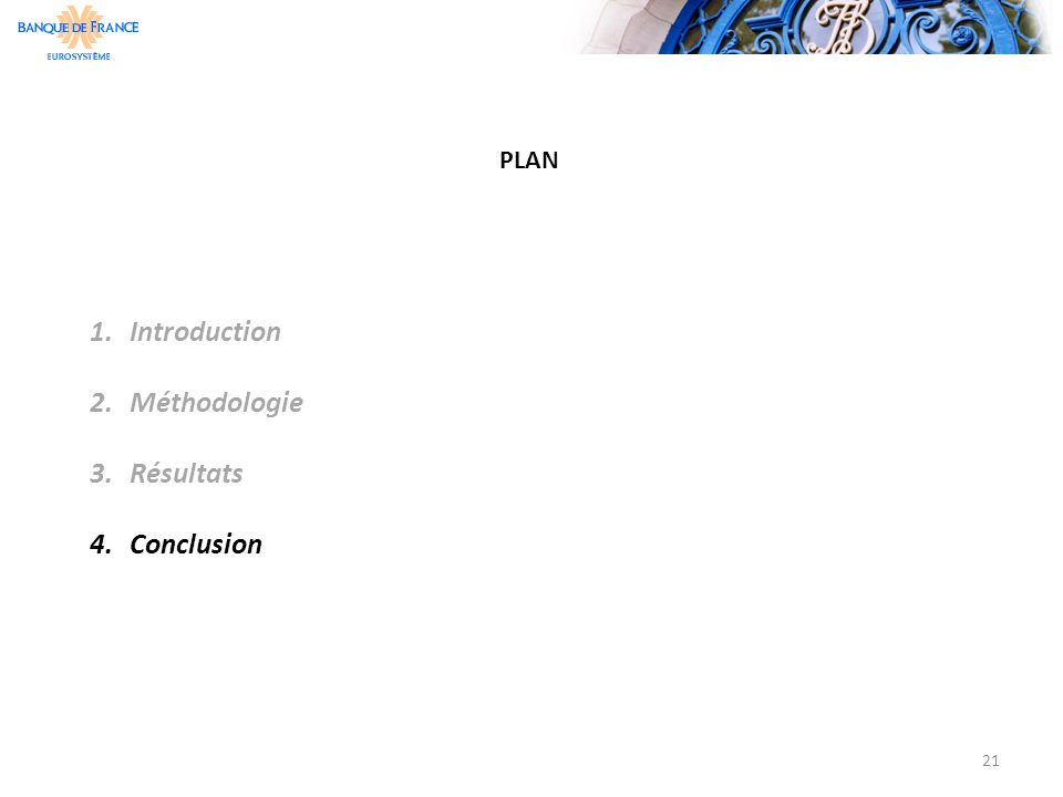 PLAN Introduction Méthodologie Résultats Conclusion