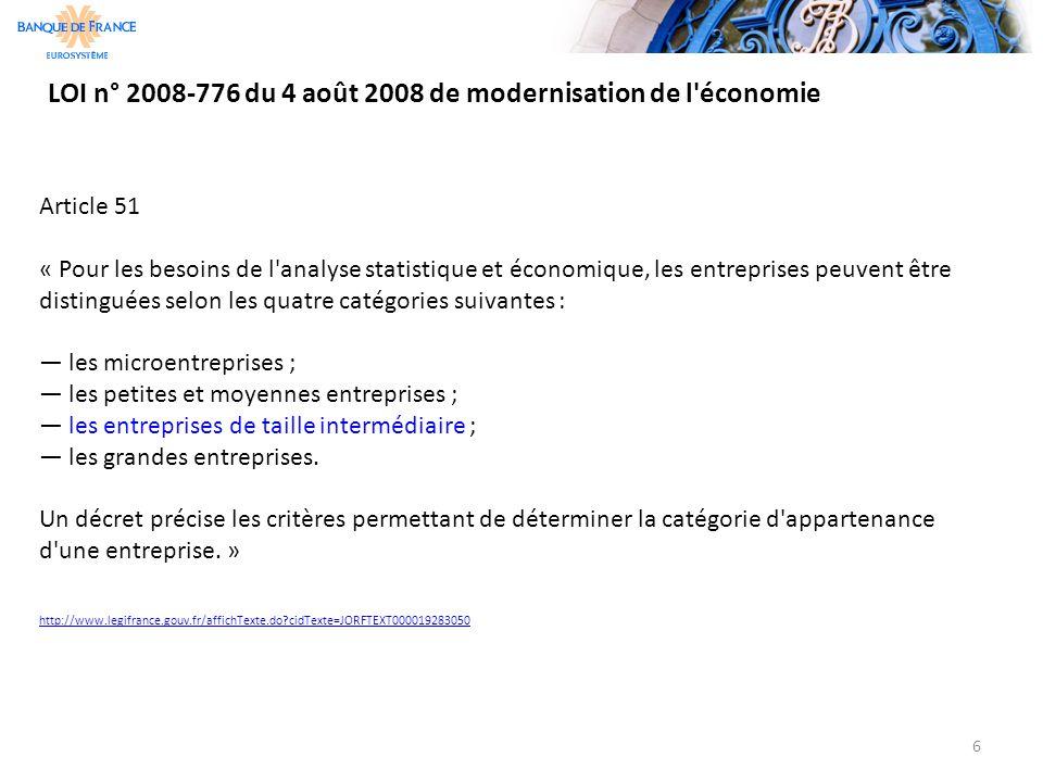 LOI n° 2008-776 du 4 août 2008 de modernisation de l économie