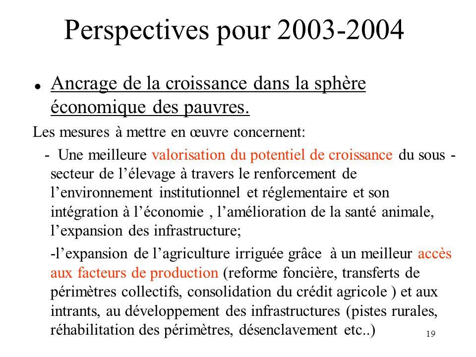 Perspectives pour 2003-2004 Ancrage de la croissance dans la sphère économique des pauvres. Les mesures à mettre en œuvre concernent: