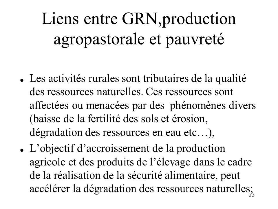 Liens entre GRN,production agropastorale et pauvreté
