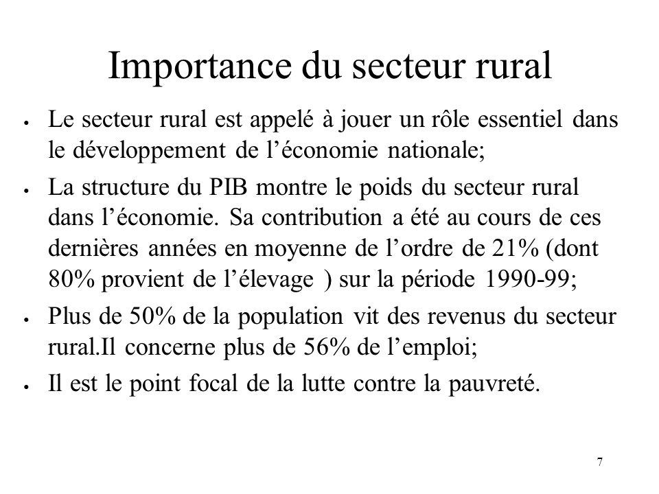 Importance du secteur rural