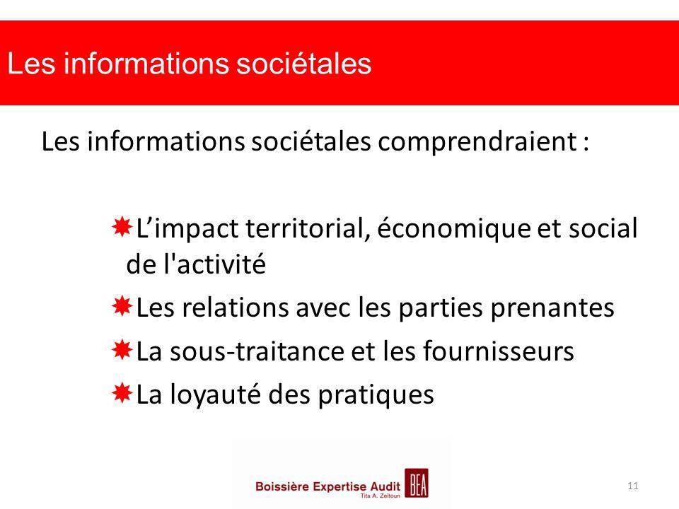 Les informations sociétales
