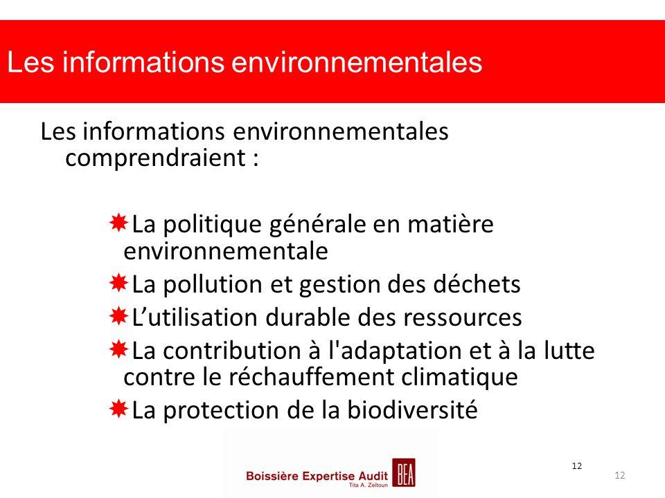 Les informations environnementales