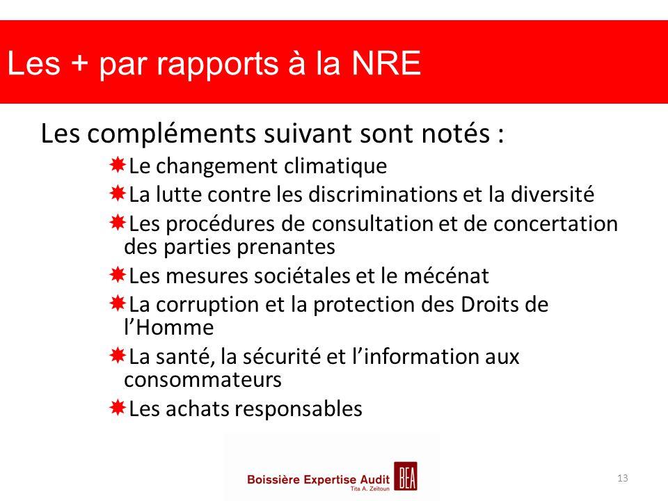 Les + par rapports à la NRE