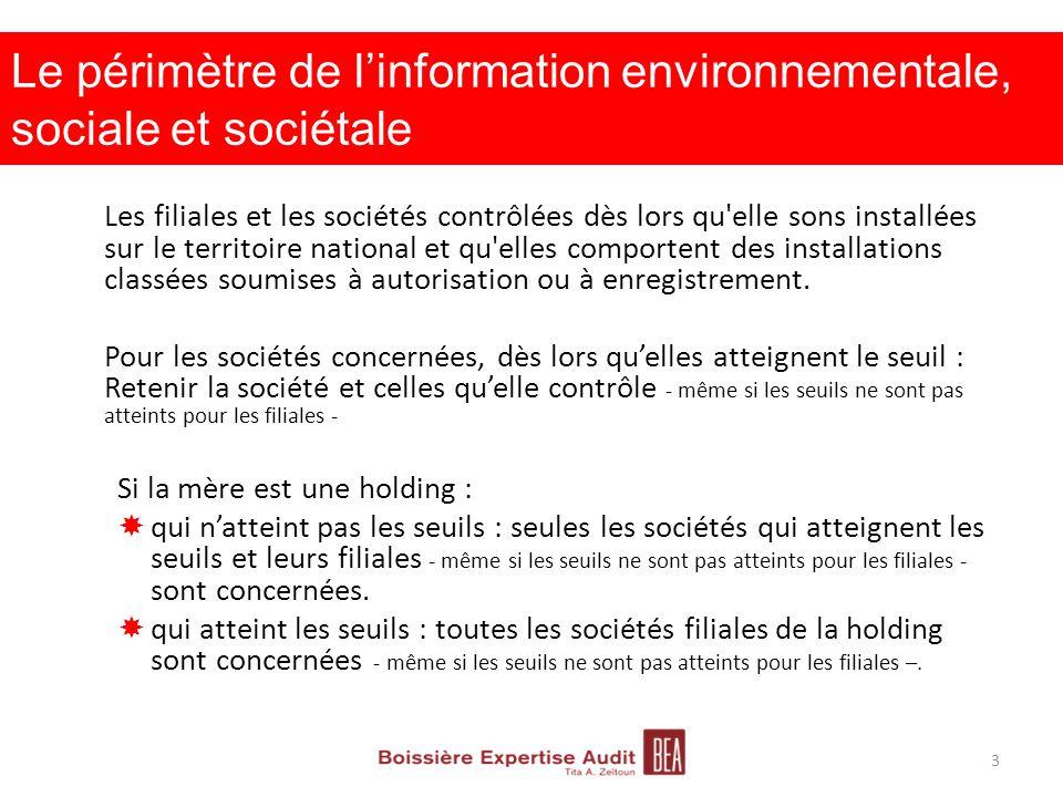 Le périmètre de l'information environnementale, sociale et sociétale