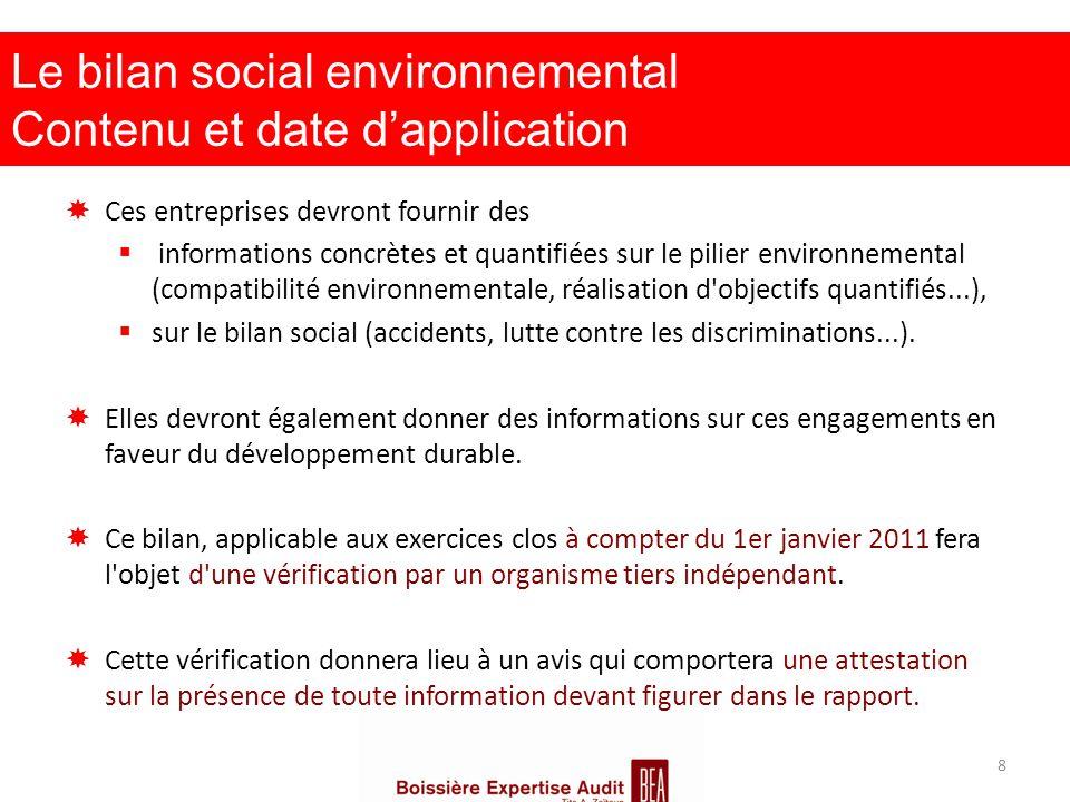 Le bilan social environnemental Contenu et date d'application