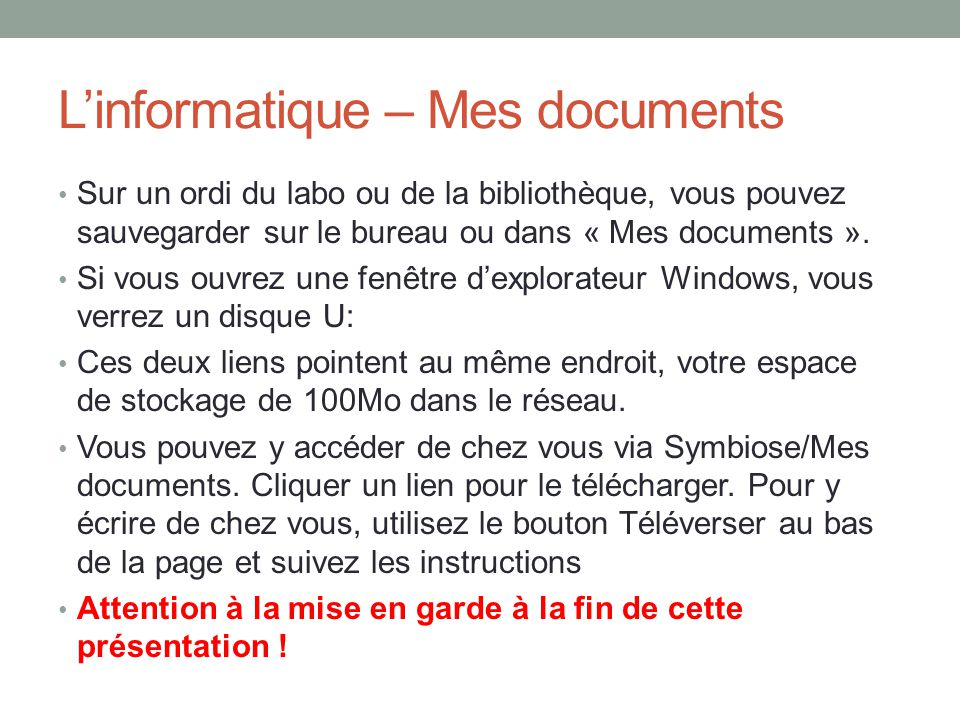 L'informatique – Mes documents