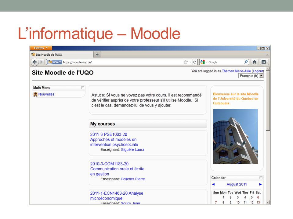 L'informatique – Moodle
