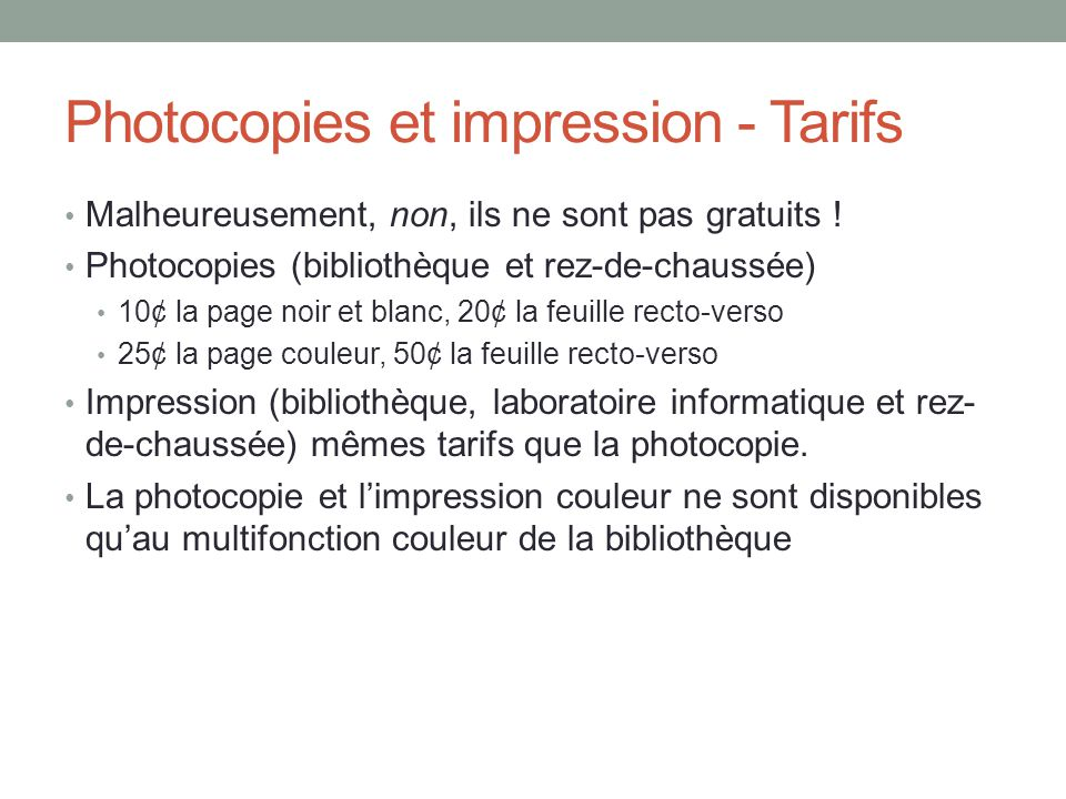Photocopies et impression - Tarifs