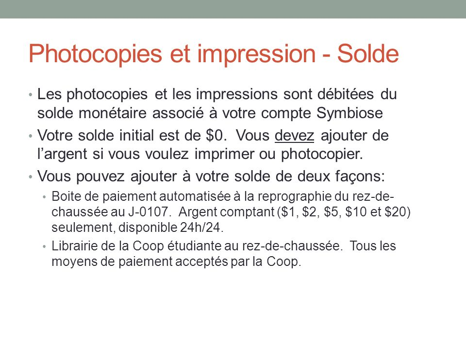 Photocopies et impression - Solde