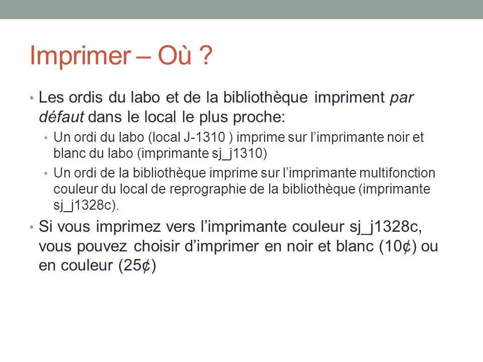 Imprimer – Où Les ordis du labo et de la bibliothèque impriment par défaut dans le local le plus proche: