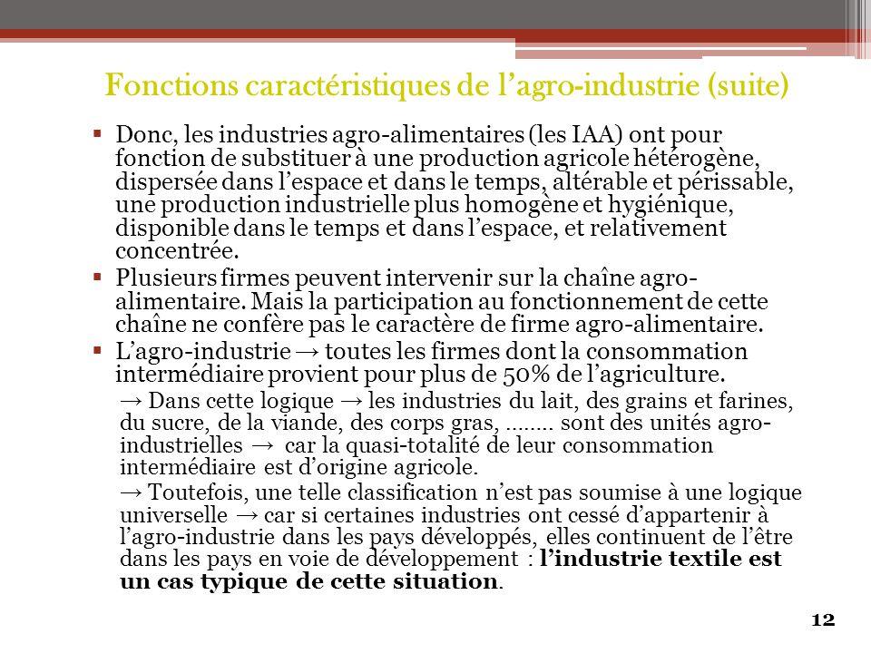 Fonctions caractéristiques de l'agro-industrie (suite)