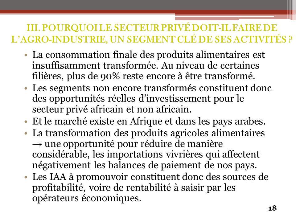 III. POURQUOI LE SECTEUR PRIVÉ DOIT-IL FAIRE DE L'AGRO-INDUSTRIE, UN SEGMENT CLÉ DE SES ACTIVITÉS