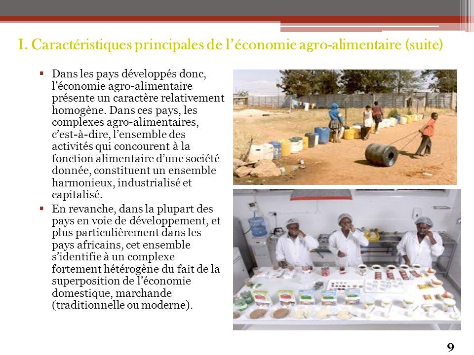 I. Caractéristiques principales de l'économie agro-alimentaire (suite)