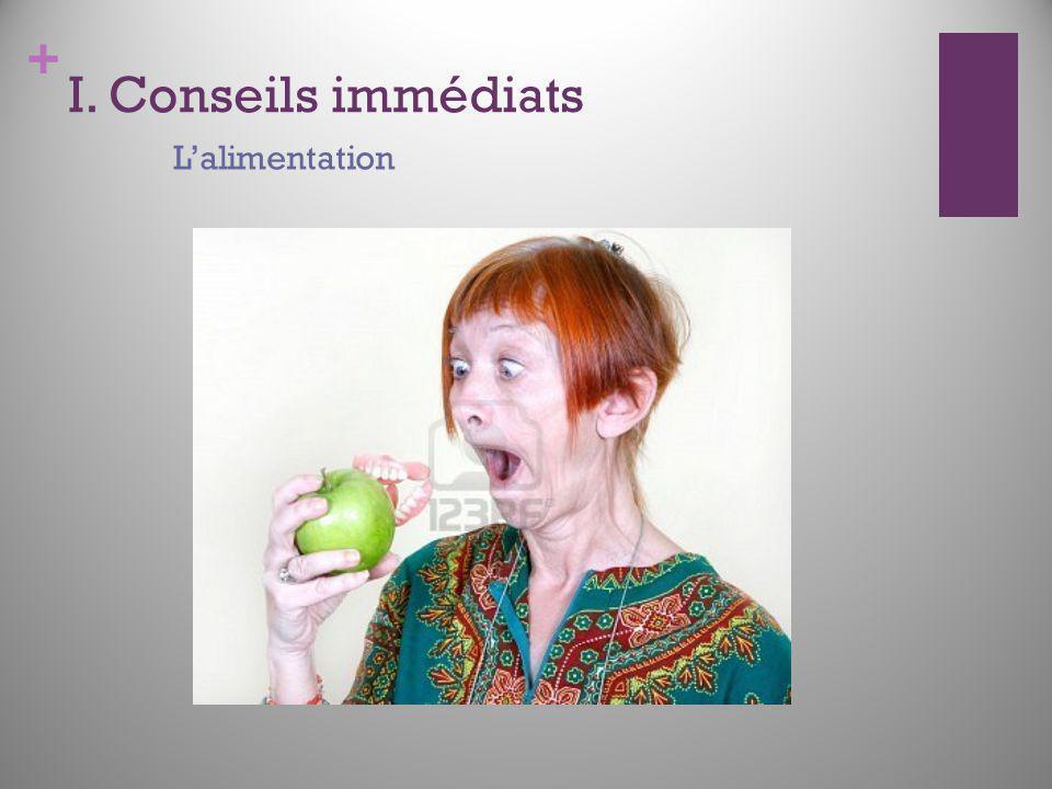 I. Conseils immédiats L'alimentation