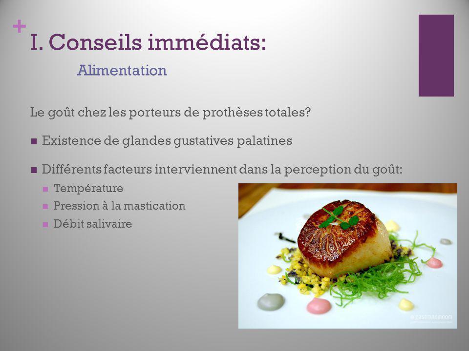 I. Conseils immédiats: Alimentation