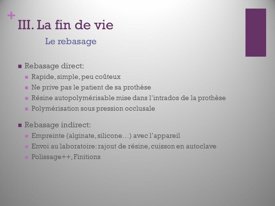 III. La fin de vie Le rebasage Rebasage direct: Rebasage indirect: