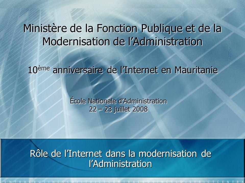 Rôle de l'Internet dans la modernisation de l'Administration