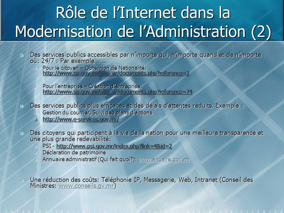 Rôle de l'Internet dans la Modernisation de l'Administration (2)