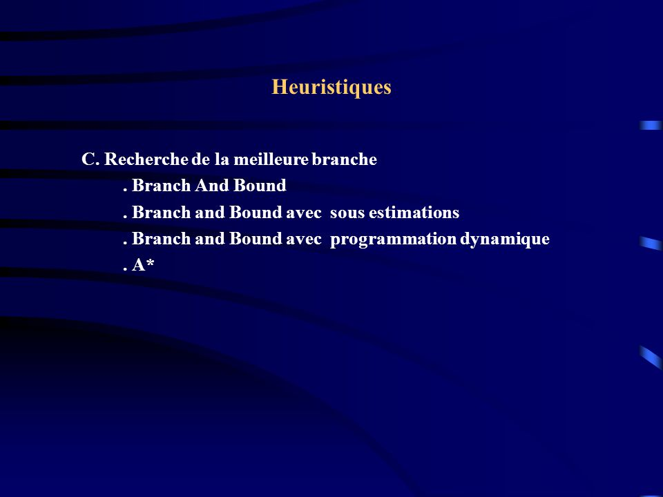 Heuristiques C. Recherche de la meilleure branche . Branch And Bound