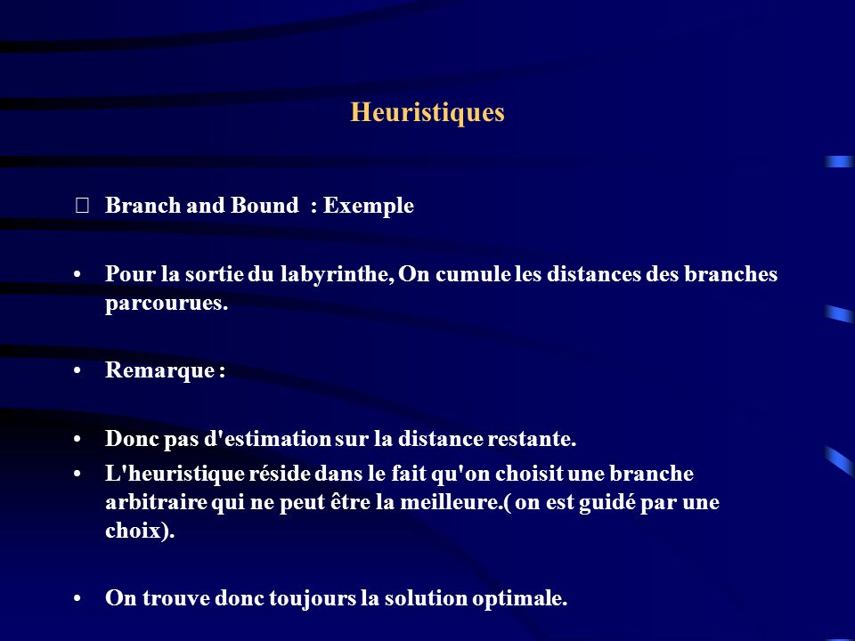Heuristiques Branch and Bound : Exemple