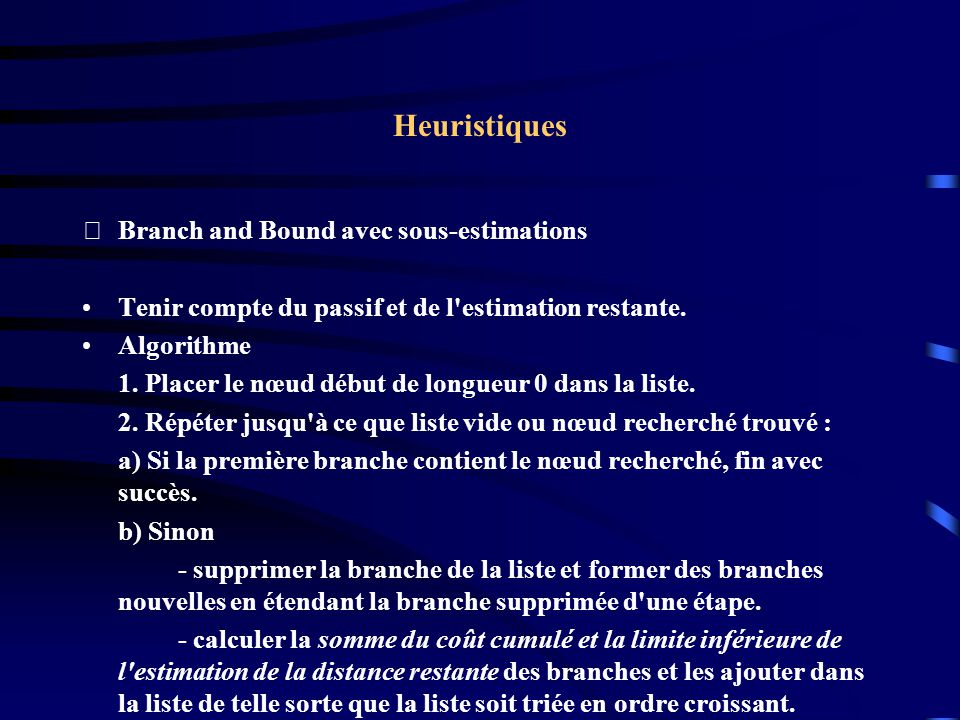 Heuristiques Branch and Bound avec sous-estimations