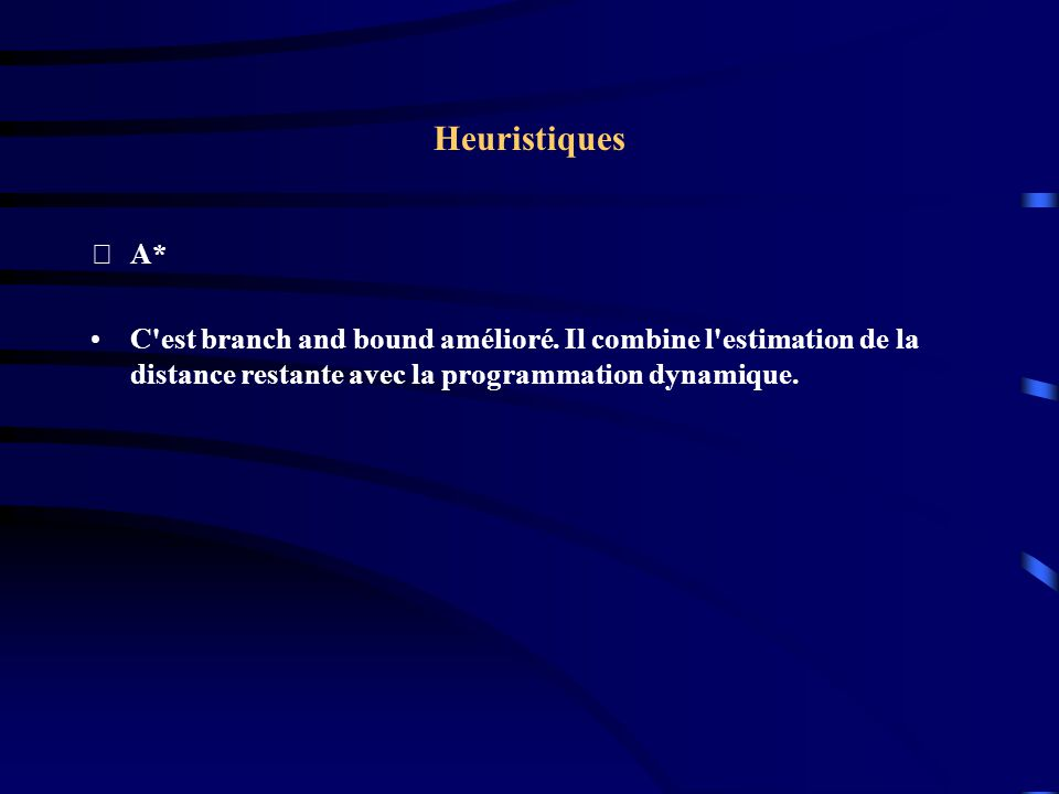 Heuristiques A* C est branch and bound amélioré.