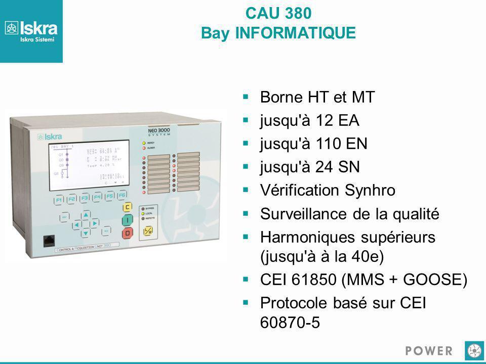 CAU 380 Bay INFORMATIQUE Borne HT et MT. jusqu à 12 EA. jusqu à 110 EN. jusqu à 24 SN. Vérification Synhro.