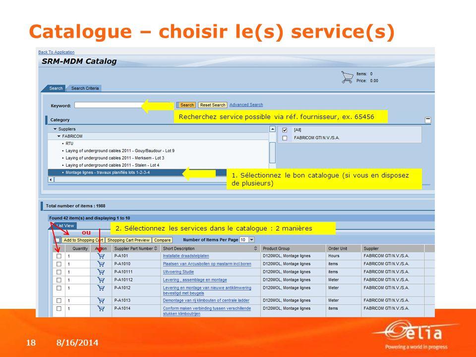 Catalogue – choisir le(s) service(s)