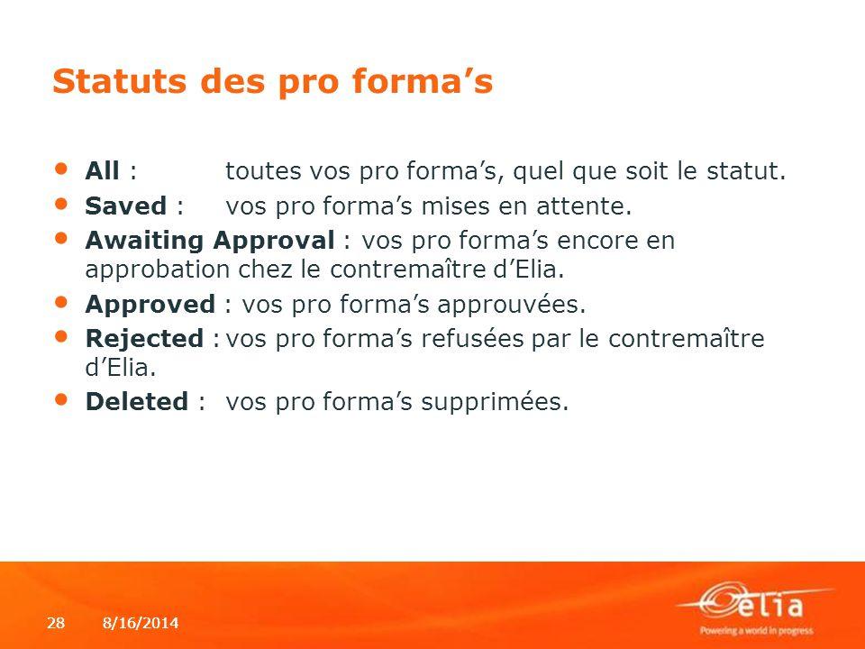 Statuts des pro forma's