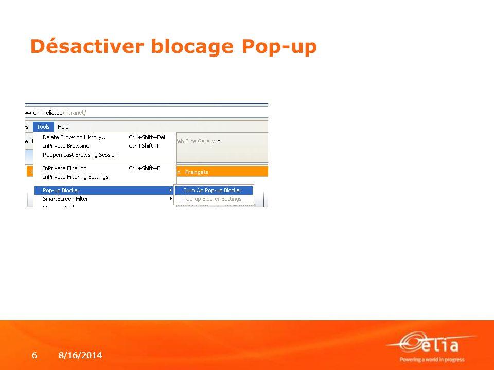Désactiver blocage Pop-up
