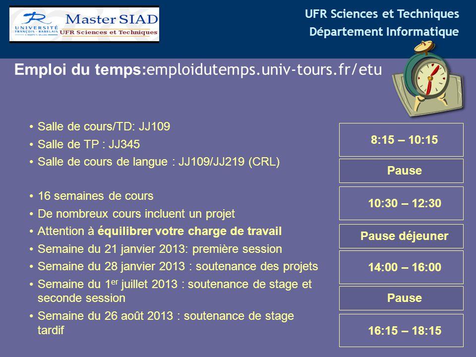 Emploi du temps:emploidutemps.univ-tours.fr/etu