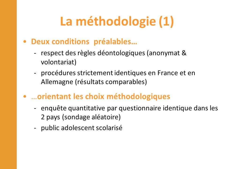 La méthodologie (1) Deux conditions préalables…
