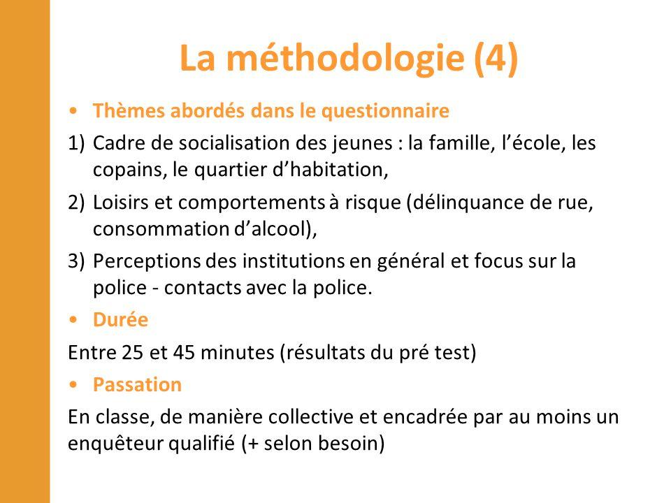 La méthodologie (4) Thèmes abordés dans le questionnaire