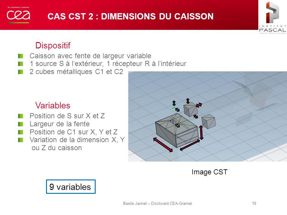 Cas CST 2 : dimensions du caisson