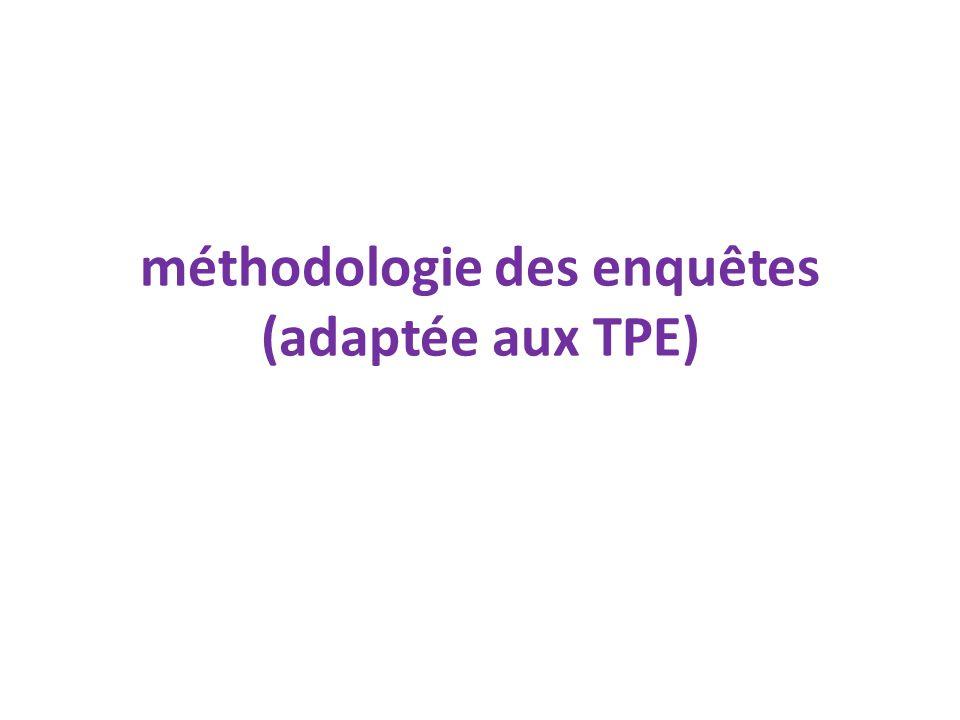 méthodologie des enquêtes (adaptée aux TPE)