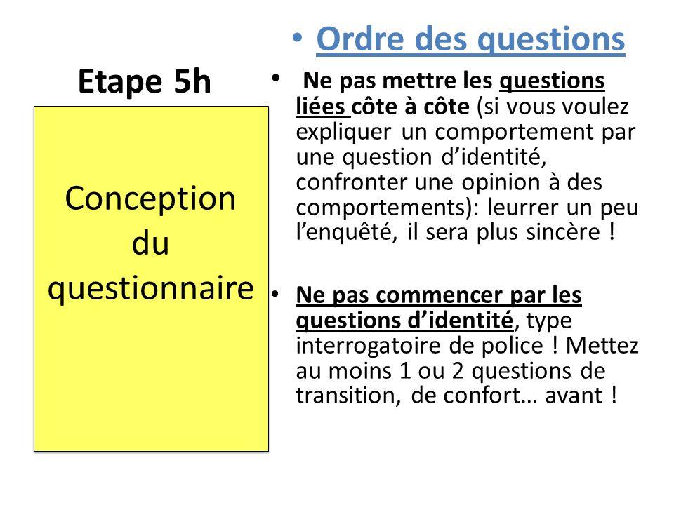 Conception du questionnaire
