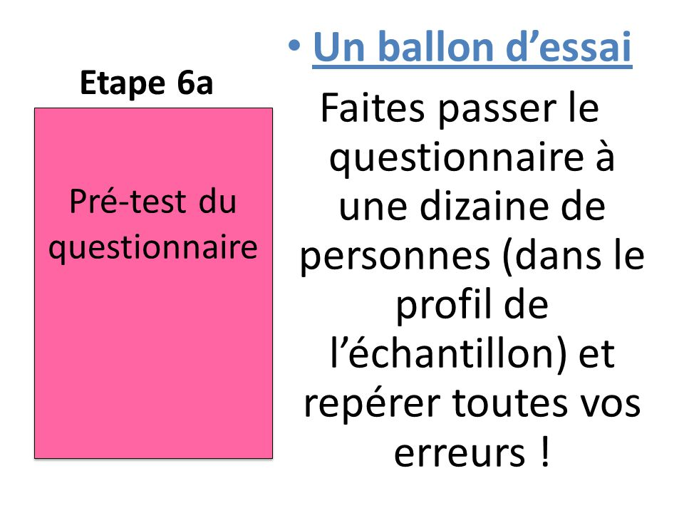 Pré-test du questionnaire