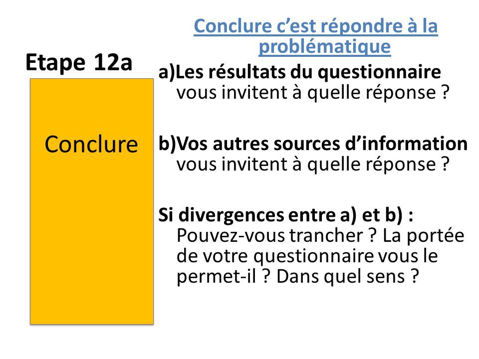 Conclure c'est répondre à la problématique a)Les résultats du questionnaire vous invitent à quelle réponse b)Vos autres sources d'information vous invitent à quelle réponse Si divergences entre a) et b) : Pouvez-vous trancher La portée de votre questionnaire vous le permet-il Dans quel sens