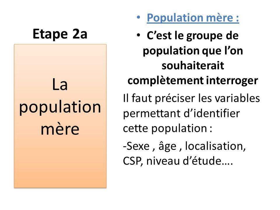 La population mère Etape 2a Population mère :