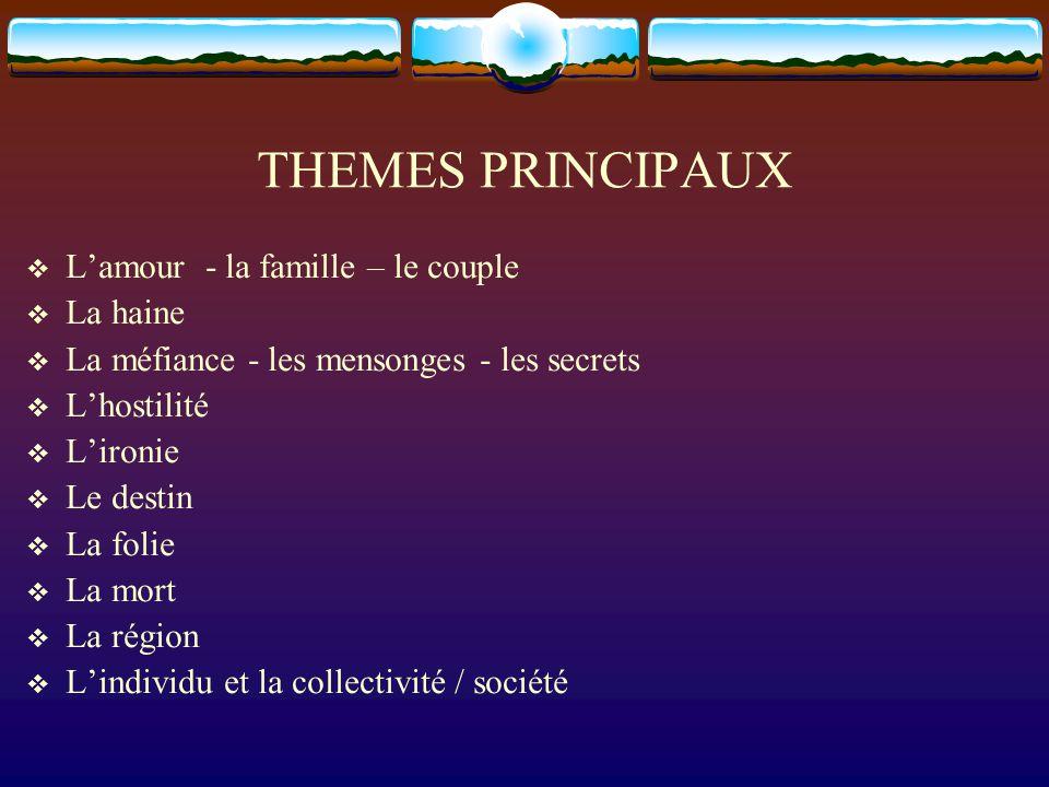 THEMES PRINCIPAUX L'amour - la famille – le couple La haine