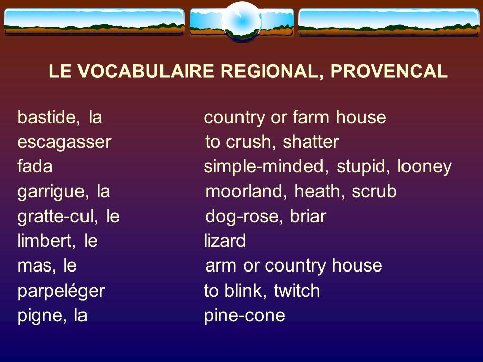 LE VOCABULAIRE REGIONAL, PROVENCAL
