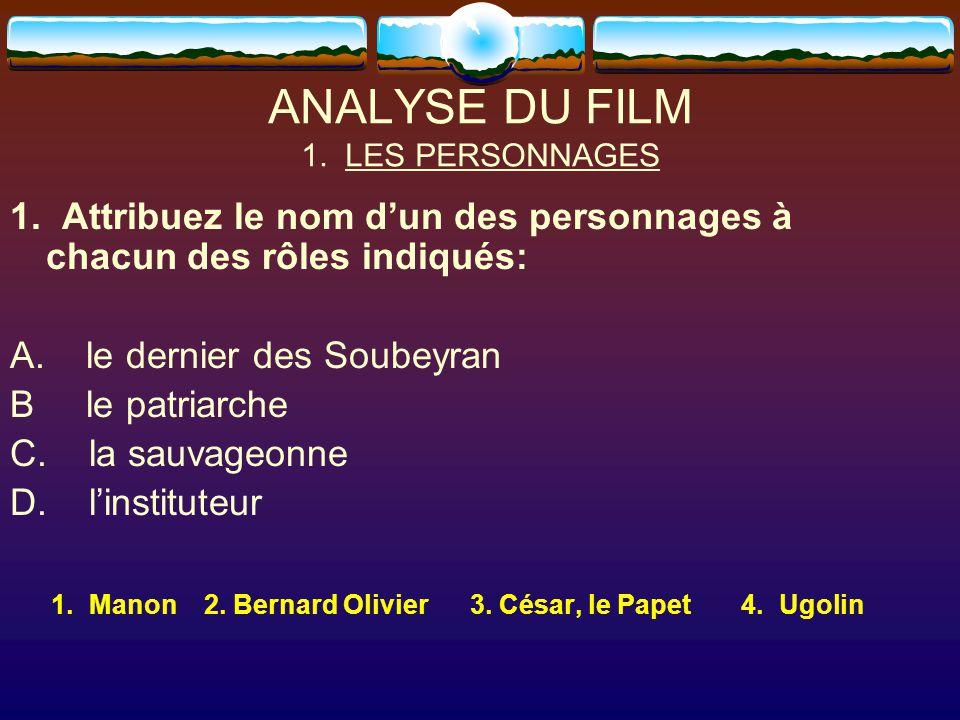 ANALYSE DU FILM 1. LES PERSONNAGES